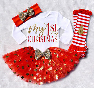 US Xmas Newborn Baby Girl Romper+Dot Dress+Leg Warmers 5Pcs Outfit Clothes 0-24M