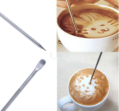 Stainless Steel Coffee Art Pen Fancy Needle Latte Cappuccino Machine Cafe Tool