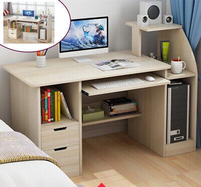 Home Office Computer Table Laptop Keyboard Study Desk Storage Shelf Furniture