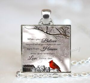 CARDINAL MEMORIAL QUOTE Red Bird Pendant Necklace Jewelry