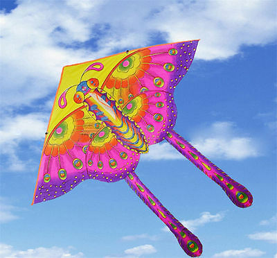 Children's Toy 50-CM Outdoor Fun Sports Printed Long Tail Butterfly Kite GiftOT9 (Kite Tails)