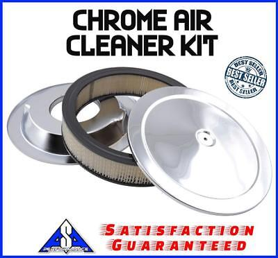 """14"""" Chrome Air Cleaner Kit Breather Filter Hot Rat Rod Fit Ford Chevy Sbc Bbc"""