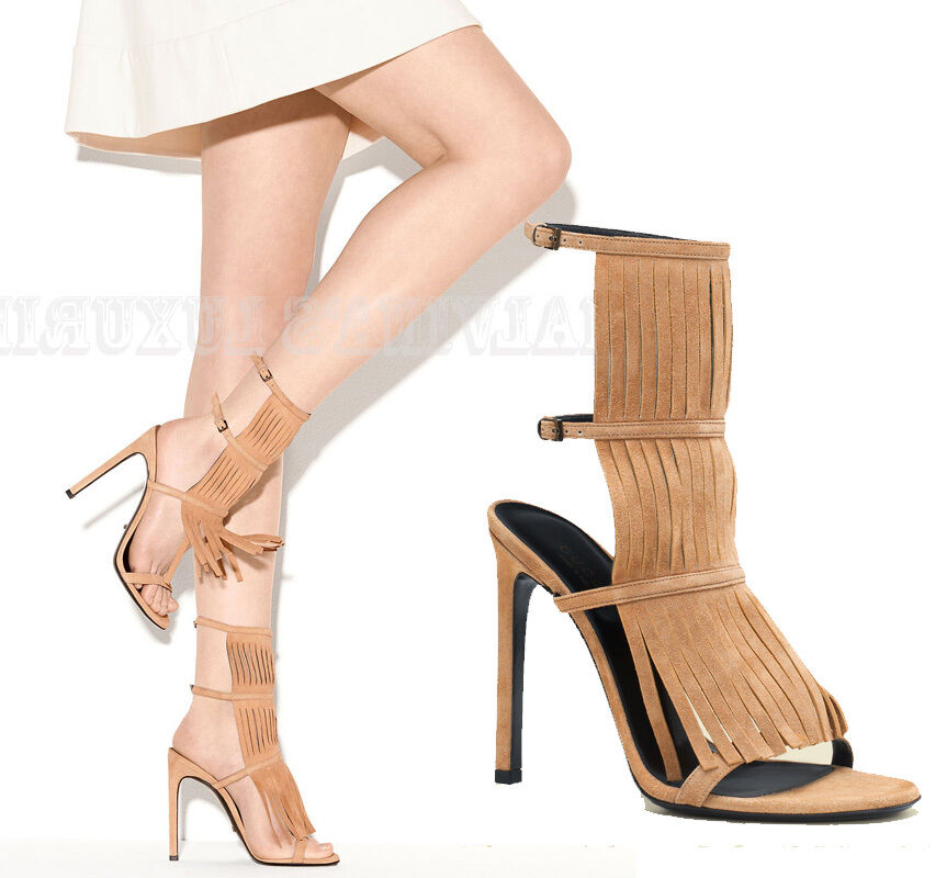 GUCCI SHOES BECKY BEIGE SUEDE FRINGED HIGH HEEL SANDAL $650 sz 36.5 / 6.5