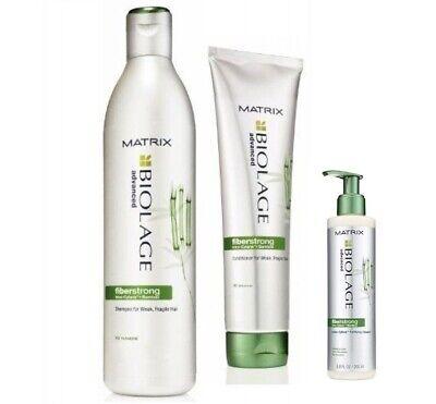 Matrix Biolage Fiberstrong Shampoo 13.5 Conditioner 8.5 Fortifying Cream 6.7 oz