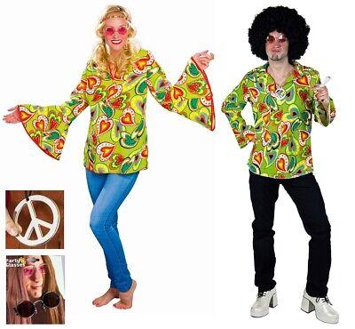 Kostüm Hippie Bluse oder Hemd 70er Flower Power Oberteil Karneval Mottoparty