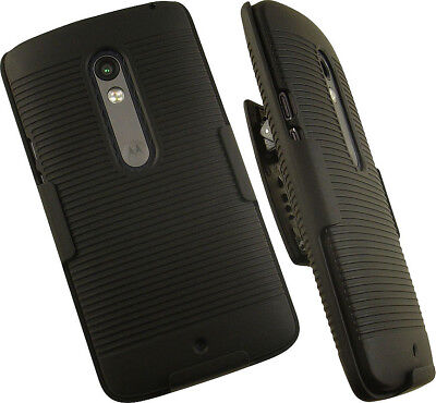 Black Phone Case Cover Clip (BLACK HARD CASE COVER + BELT CLIP HOLSTER STAND FOR MOTOROLA MOTO X PLAY PHONE )