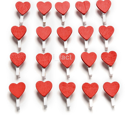 20pcs Love Heart Wooden Clothes Photo Paper Peg Pin Clothespin Craft ClipsUS