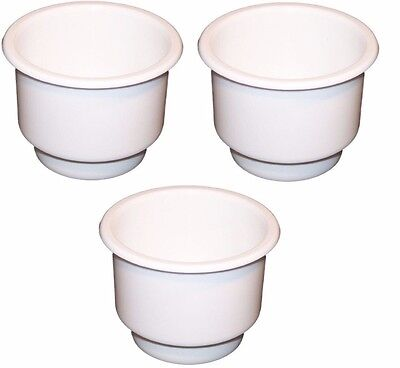 3-Pack WHITE Plastic Cup Holder Boat RV Car Truck Inserts Large Size (Large Cup Holder)