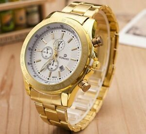 Mens-Boys-Gold-Plated-Stainless-Steel-Date-Military-Luxury ...