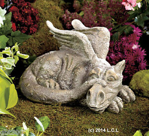 Sleeping dragon statue in stock yard garden whimsical for Whimsical garden statues