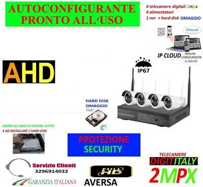 KIT WIRELESS VIDEOSORVEGLIANZA AHD 2MP DVR FULL HD 4 TELECAMERE+HARD DISK 500GB