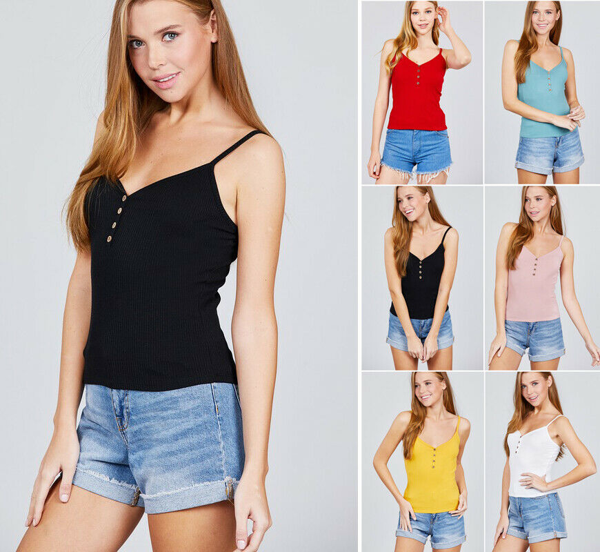 Casual Fitted Cami Tank Top Solid Ribbed Stretch Cotton Spag