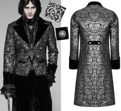Frack Jacke Mantel Gothic Dandy Barock Samt Silber Jacquard Anzug PunkRave Mann