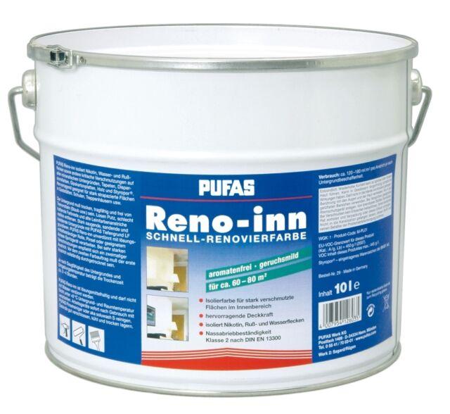 (8,95€/L) Pufas Reno-inn Schnell-Renovierfarbe Isolierfarbe 10 L