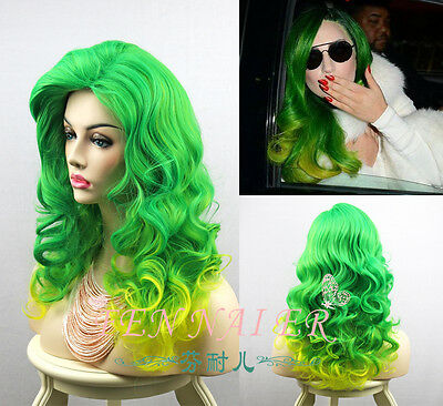 Popular Mix Green Yellow Wig Lady Gaga Hair Curly Women Party Full Cosplay Wigs](Lady Gaga Yellow Wig)