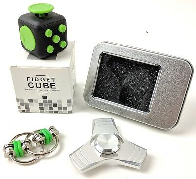 Fidget Spinner Metal Hand Toy   Fidget Cube v2 Ring   Stress Reducer   Silver