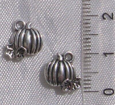 Lot de 10 breloques citrouille Halloween métal argenté double face *B457](Citrouille Halloween)