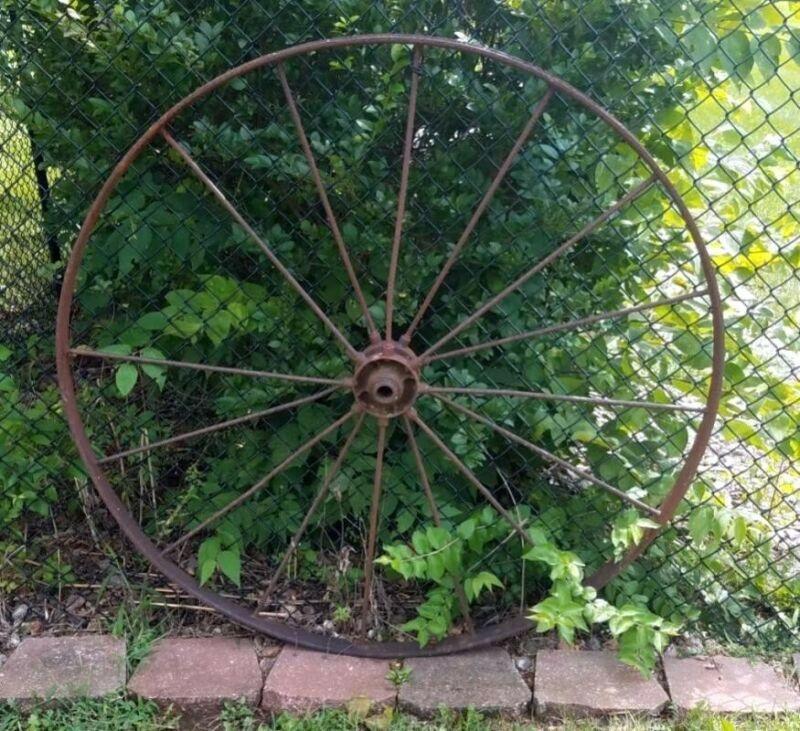 "North Dakota 48"" Antique hay rake wheels in great shape non restored or painted"
