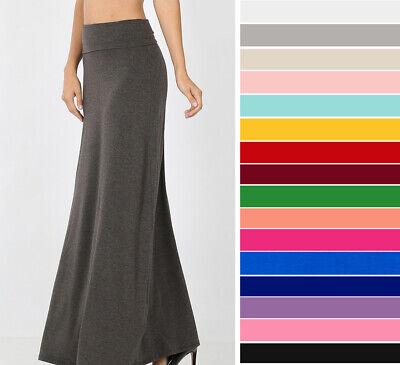 S-3X Women's Fold Waist Maxi Skirt Soft Stretch Knit Casual Solids Basic Long