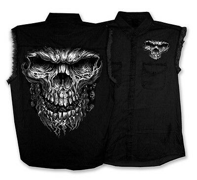 Skull Sleeveless Denim (GIANT SKULL Sleeveless Denim Shirt BIKER MC Denim)