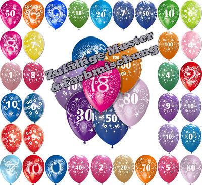 Luftballons bunt, 10/25/50 Stk. Zahl 0 1 2 3 ...100 Deko Party Geburtstag Helium ()