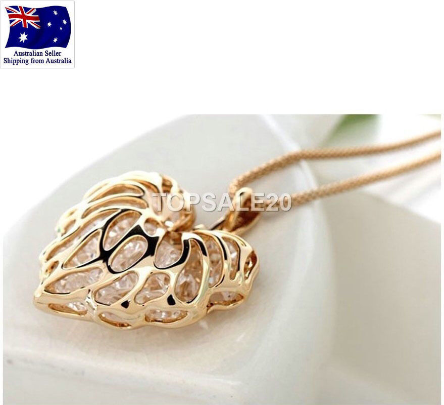 Jewellery - 18k Gold Plated Heart Pendant Long Necklace Chain Jewelry