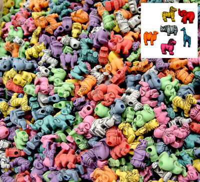 Safari Circus Animals Shapes Pony Beads Made in the USA antiqued multi colors](Animal Shapes)