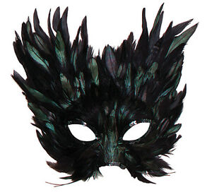Black-Feather-Eye-Mask-Masquerade-Masked-Ball-Creature-Halloween-Fancy-Dress
