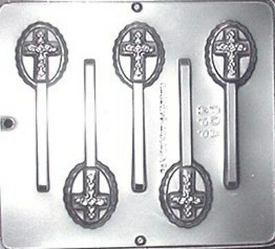 Cross on Oval Lollipop Chocolate Candy Mold 405 NEW Oval Chocolate Mold