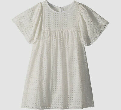 $410 Chloé Kids Girl's White French Embroidered Short Sleeve A-Line Dress Size 8