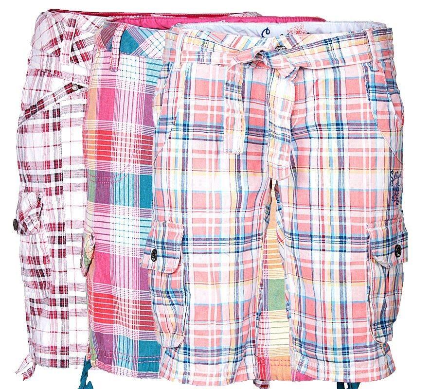 Damen Cargo Shorts Karo Kurze Hose Bermuda Capri Short Chino Sommer Knielang