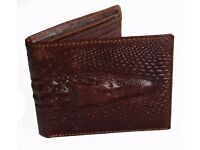 PU leather look wallet fake alligator leather can post. As new never used.