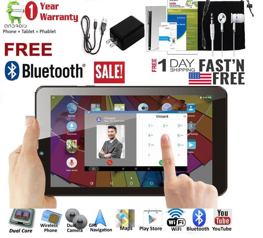 Android Phone - 7-inch Android 5.1 Tablet PC + Phablet Smart Phone Bluetooth GPS WiFi Unlocked*