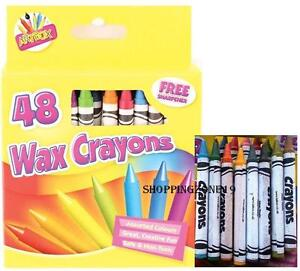 48-Wax-Crayons-Set-with-Sharpener-Assorted-Colours-for-Children-School-Kids-Arts