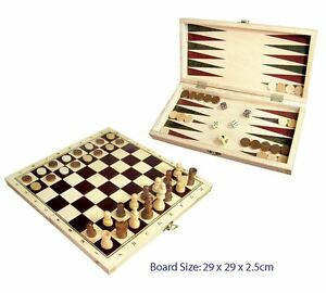 CHESS Checkers & Backgammon WOODEN FOLD-UP Box Educational Travel Game KIDS SET