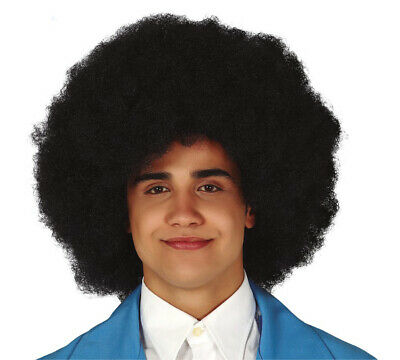 Black Afro Wig Mens Womens Big Deluxe 70s Hippie Fancy Dress Costume Hair - Big Hair Kostüm