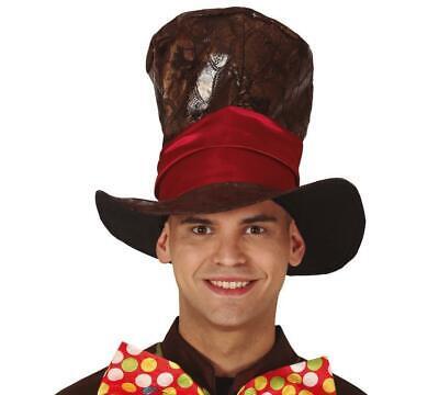 Cappello cappellaio cilindro marrone molto alto mago clown matto