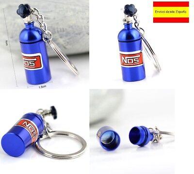Llavero Coche Botella Bombona NOS Azul metalizado Key chain NUEVO