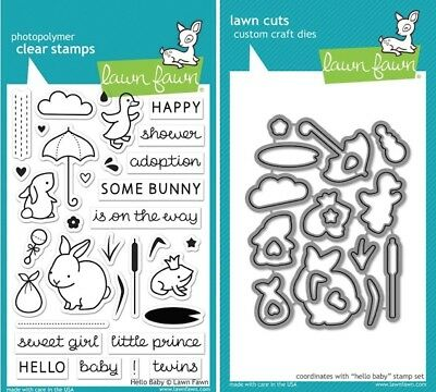 Lawn Fawn HELLO BABY LF673 & LF674 Clear Stamp and Die Set  ()