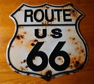 Rustic Bullet Hole Route 66 Tin Sign Retro Highway Home