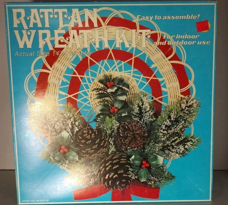 Rattan Wreath Kit Pinecones Ribbon Wicker Holly Pine Boughs Vintage 1977 DIY