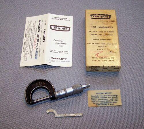 """Vintage Micrometer, Sears Roebuck & Co. 38651  0-1"""" Ratchet Spindle, Vernier"""