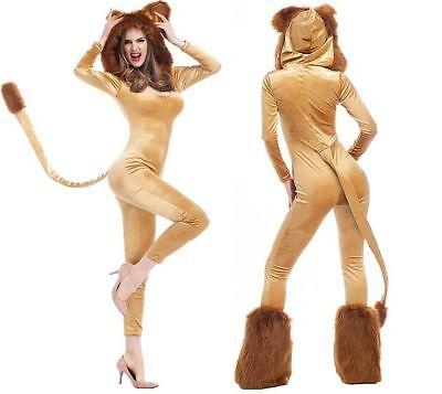 Fun Teen Halloween Costumes (Women Teen Lion Halloween Costume Sexy Role Play Dress Animal Cosplay)