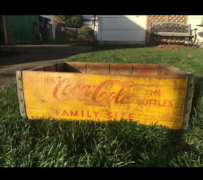 Vintage 1963 Coca Cola Wood Crate - Yellow With Red Lettering Seattle WA