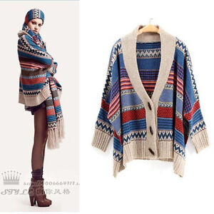 Womens Ethnic Knitted Poncho Cardigan Sweater Batwing Oversize Winter Warm Retro