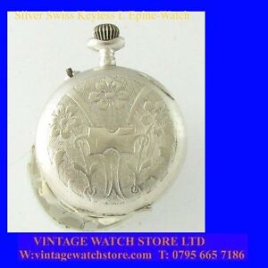 Pretty-Silver-Enamel-Swiss-LEpine-Keyless-Ladies-Fob-Watch-1900