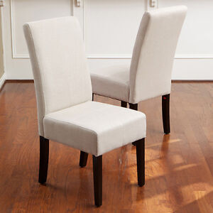 Of 2 elegant design natural linen upholstered parsons dining chairs