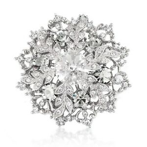 BEAUTIFUL WHITE SWAROVSKI ELEMENTS CRYSTAL XMAS SNOWFLAKE BROOCH PENDANT GIFT