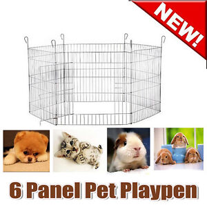 6-Panels-Pet-Dog-Puppy-Guinea-Pig-Rabbit-Cage-Playpen-Enclosure-Pen-Barrier