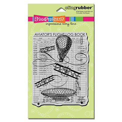 Stampendous Rubber Stamps Cling Flying Machines Stamp